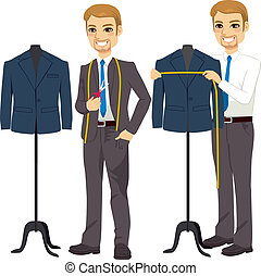 Young attractive tailor measuring bust on suit jacket