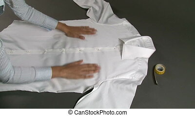 Tailor Measuring Man Shirt Chest Width