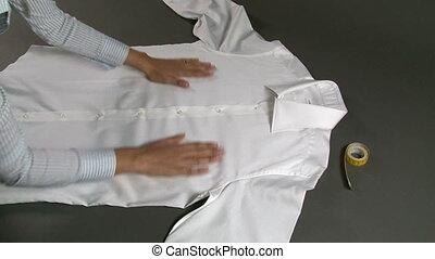 Tailor Measuring Man Shirt Chest Width - Tailor measuring ...
