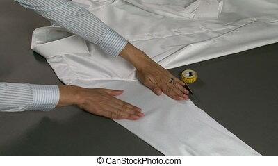 Tailor Measuring Man Shirt Sleeves Width