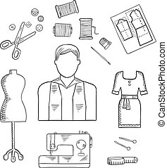 Tailor or fashion designer profession sketch icon