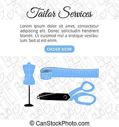 Tailor services banner template for websites vector illustration