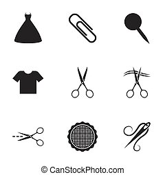 Tailor, sewing and embroidery icons. Scissors.