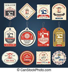 Tailor shop badges labels icons set - Premium tailor shop...