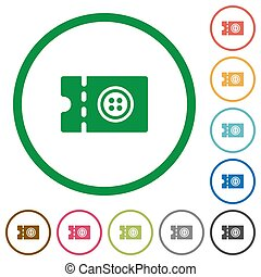 Tailor shop discount coupon flat icons with outlines