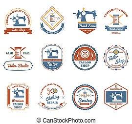 Tailor shop original labels icons set - Vintage tailor shop ...