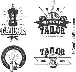 Tailor shop vector labels, badges, logos, emblems