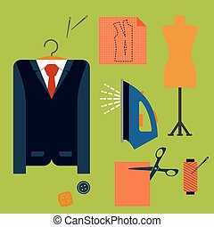 Tailor tools and accessories in flat style - Tailor tools...