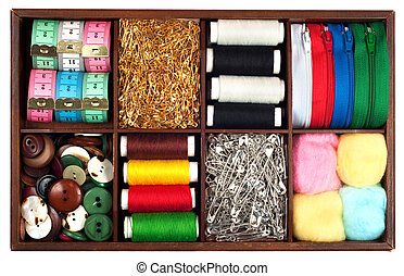 Tailoring materials - Assortment of different tailoring...