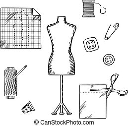 Tailoring and sewing sketched icons and objects with mannequin, scissors, safety pin, needle, threads, buttons, thimble, fabric and paper drawing