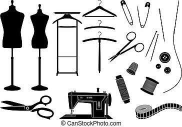Tailor's objects and equipment black and white silhouettes