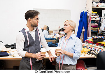 Tailors Chatting in Atelier