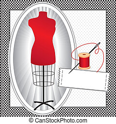 Fashion model, red tailors female mannequin dress form in oval frame, needle and thread, sewing label with copy space to add your name, black and white check frame, polka dot background. EPS8 compatible.