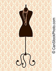 Tailor's Mannequin - Illustration of a black tailor's...