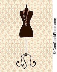 Tailor's Mannequin - Illustration of a black tailor's...