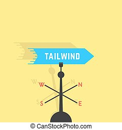 tailwind with vane and shadow. concept of business metaphor, discovery new horizon, fair wind, windy, breeze. isolated on yellow background. flat style trend modern design vector illustration