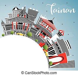 Tainan Taiwan City Skyline with Gray Buildings, Blue Sky and...