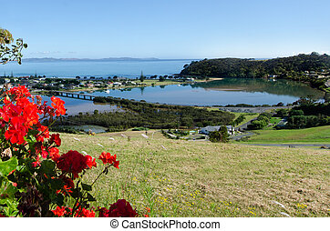 Taipa - Northland New Zealand NZ - Aerial view of Taipa town...