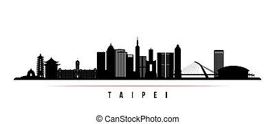 taipei, 横, 都市, banner., スカイライン