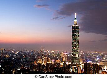 taipei, 101, el, el más alto, edificio, en, taiwán