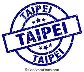 Taipei blue round grunge stamp
