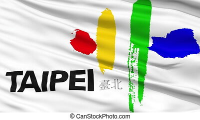 Taipei City Close Up Waving Flag