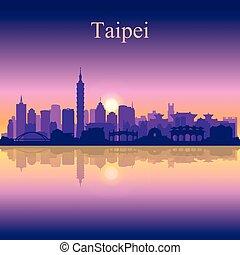 Taipei city silhouette on sunset background