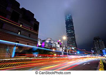 taipei city traffic at night