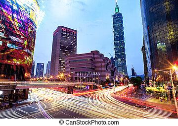 taipei, cityscape, -ban, félhomály, alatt, taiwan, város