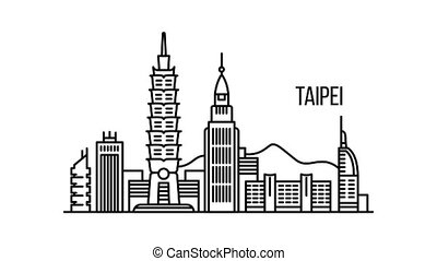 Taipei metropolis concept animation outline best object on white background