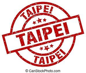 Taipei red round grunge stamp