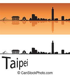 Taipei skyline in orange background in editable vector file
