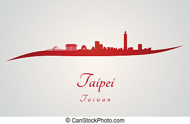 Taipei skyline in red and gray background in editable vector...