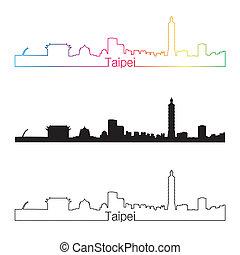 Taipei skyline linear style with rainbow in editable vector...
