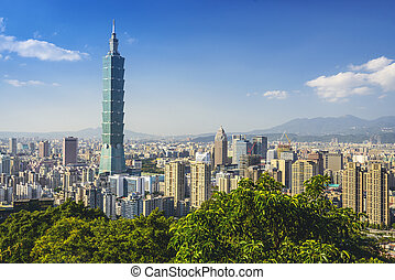 Taipei Skyline - Taipei, Taiwan downtown skyline at the...