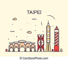 Taipei skyline Trendy vector illustration linear - Taipei...