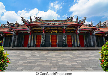 Entrance to Xingtian Gong, a traditional Chinese temple devoted to Guan Yu, the patron god of businessmen