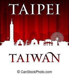 Taipei Taiwan city skyline silhouette red background