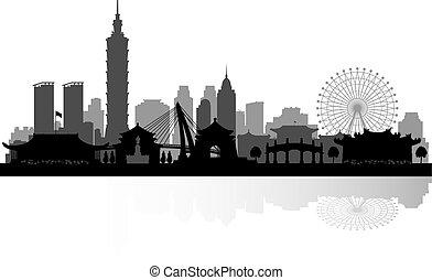 Taipei Taiwan city skyline silhouette - Taipei Taiwan city...