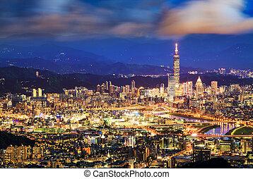 taipei, taiwan, cityscape, depuis, neihu, district.