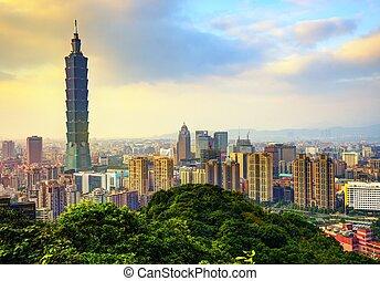 Skyline of downtown Taipei, Taiwan.