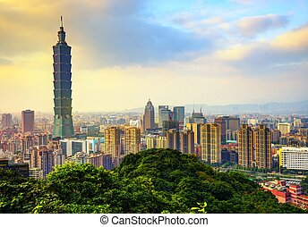 Taipei Taiwan Skyline - Skyline of downtown Taipei, Taiwan.