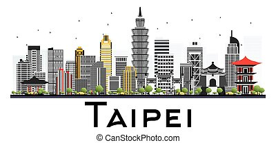 Taipei Taiwan Skyline with Gray Buildings Isolated on White Background.