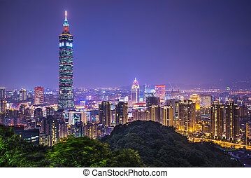 Taipei Taiwan - Taipei, Taiwan skyline at night.