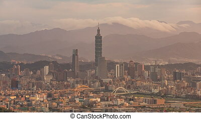 Taipei, Taiwan, Timelapse - Close up view of Taipei's downtown from the Mountains