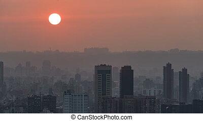 Taipei, Taiwan, Timelapse - Taipei close up Sunset