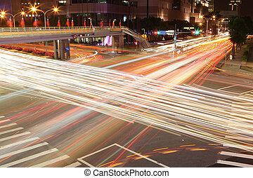 taipei, város utca, éjjel