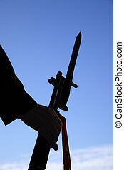 Taipei,Taiwan, February, 12th, 2012: Soldier Holding weapon in
