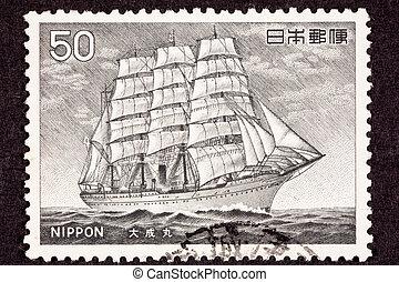 Taisei Maru Steam Powered Tall Ship, used both sail and ...