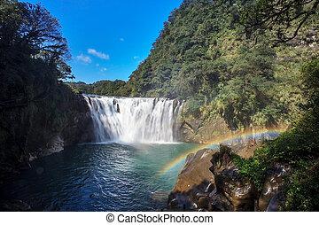 taiwán, cascada, shifen